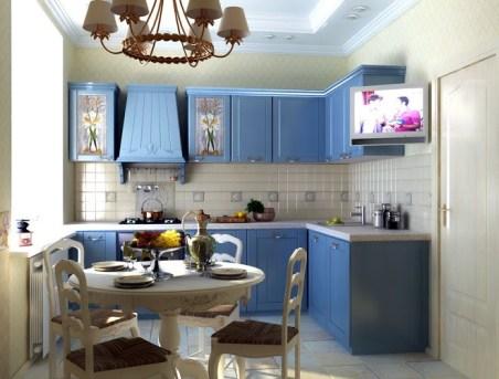 Галерея кухонь синего цвета, часть 6