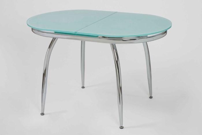 Овальный стеклянный раздвижной стол