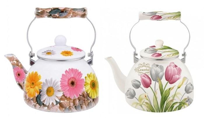 Эмалированные чайники с керамической ручкой