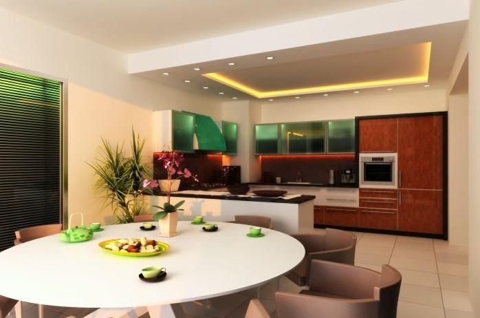 Освещение в кухне столовой