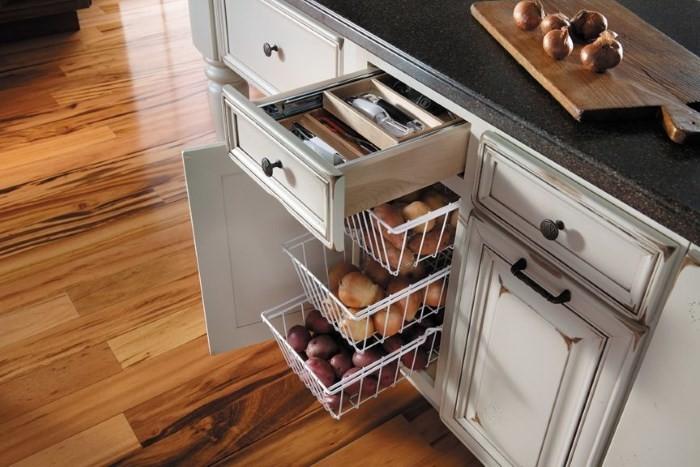 Выдвижные корзины на кухне