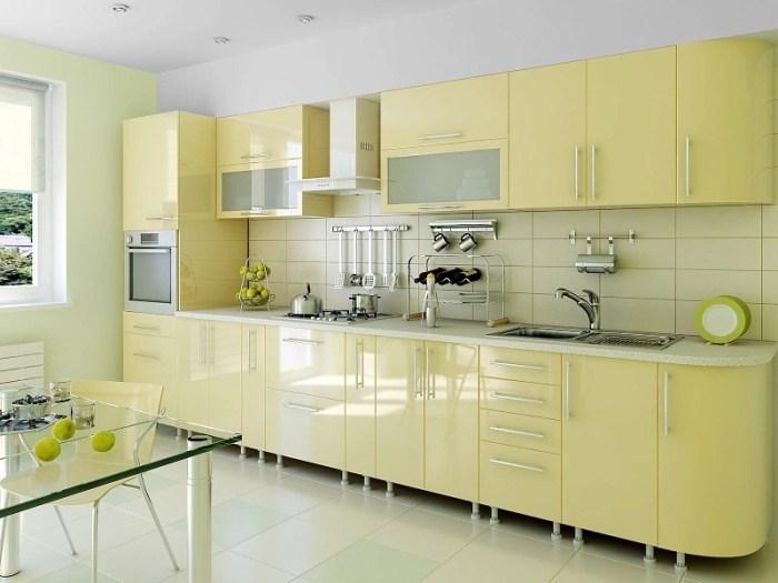 Кухня столовая с линейной планировкой