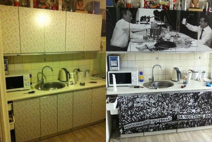 обновление фасада кухонного гарнитура пленкой