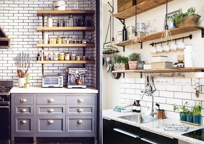 дизайн небольшой кухни с открытыми полками
