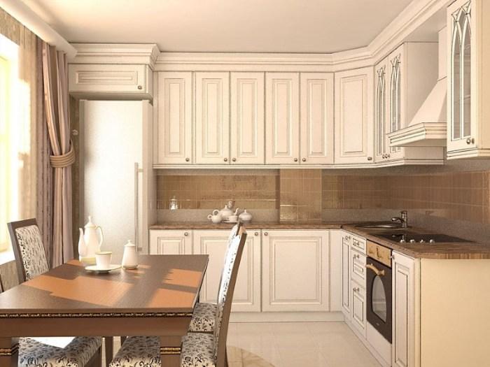 Кухня 14 кв м в стиле классика