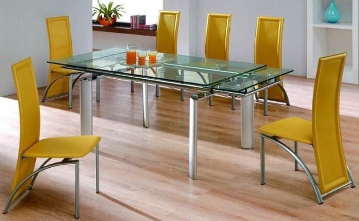 большой стол со стеклянной столешницей