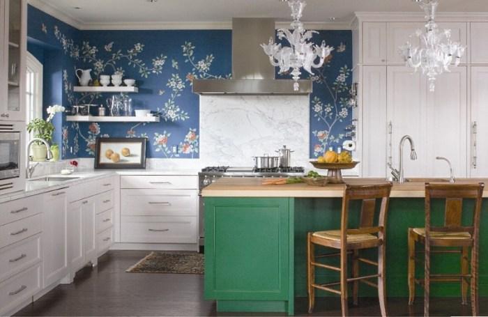 синие обои для кухни