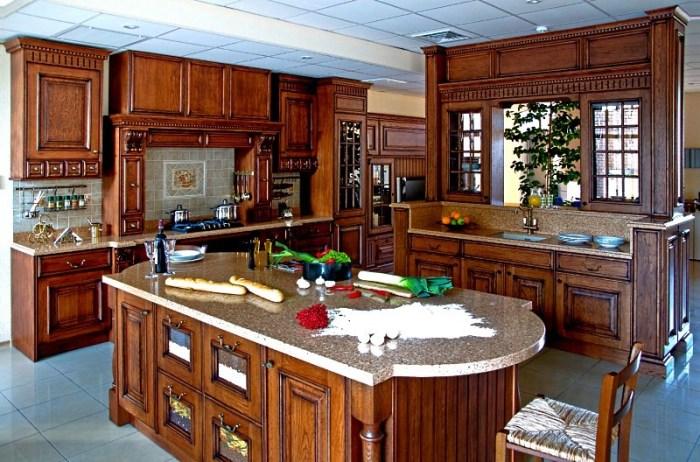 Дизайн кухни из дуба