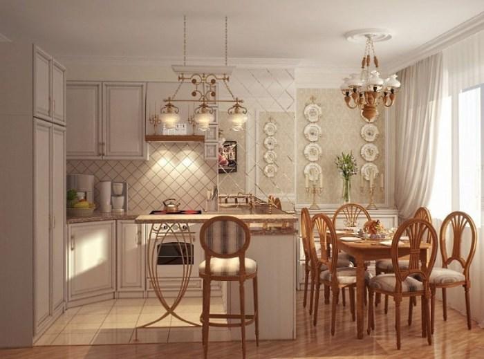 комбинация нескольких видов отделки стен на кухне прованс