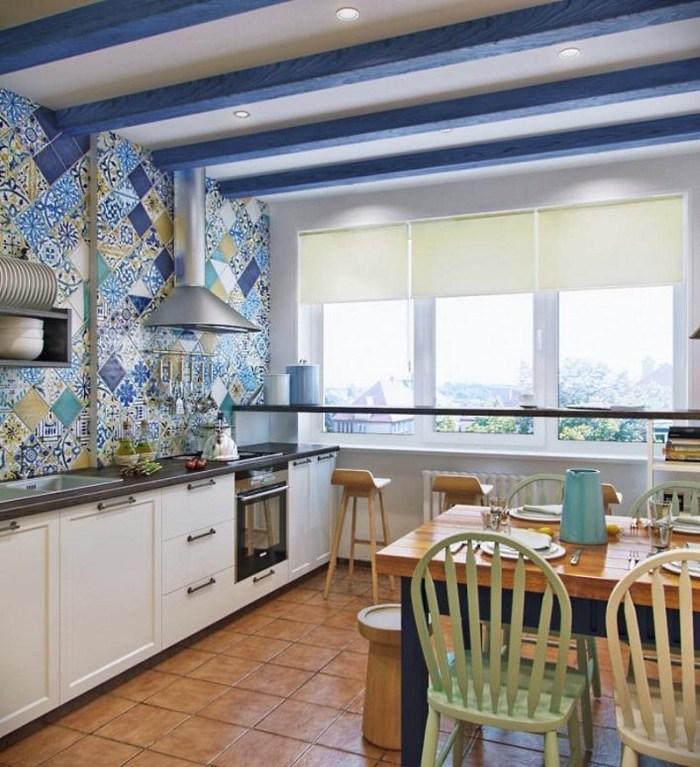 пол и потолок на средиземноморской кухне