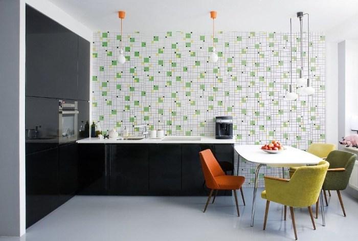 Зеленые обои для кухни