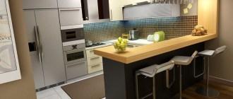 Высота барной стойки на кухне от пола