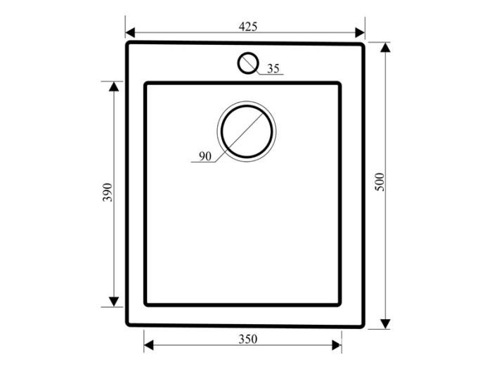 Размер прямоугольной мойки