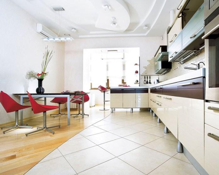 Зонирование пола на кухне