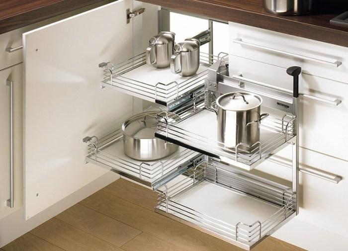 Угловые системы хранения на кухне