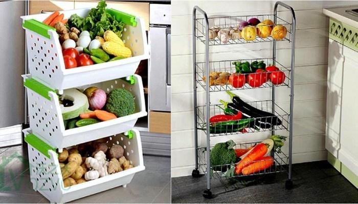 Хранение овощей в контейнерах или этажерках из металла