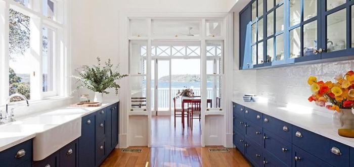 Кухня в сине-белом цветовом сочетании