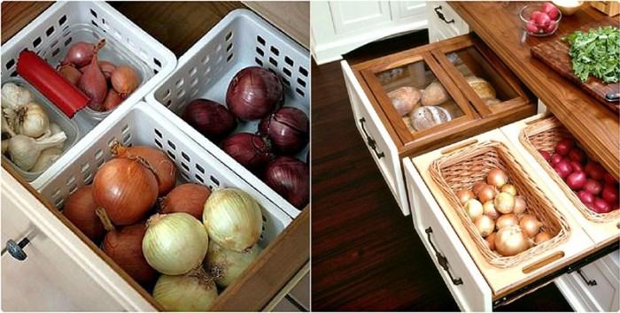 Выдвижные ящики с корзинами для хранения овощей