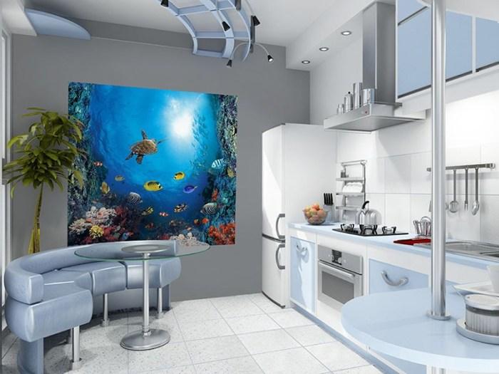Фотообои на кухне с подводным морским миром