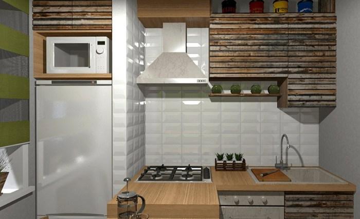 Маленькая кухня с холодильником а нише из гипсокартона