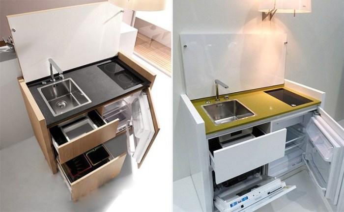 Два вида мини-кухни со встроенным холодильником