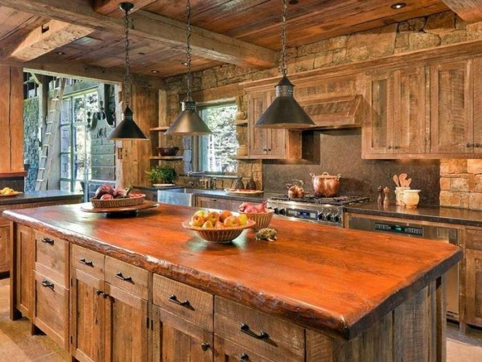 Рустикальный стиль на кухне из дерева