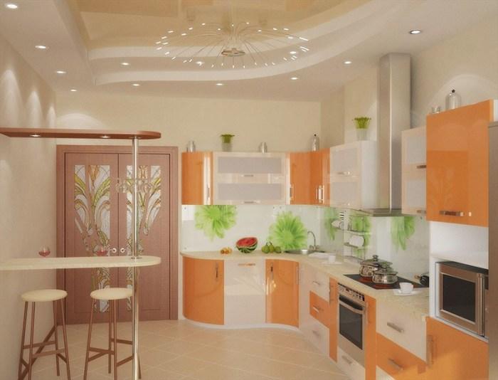 Фасады мебели с вставками нежного лососевого цвета