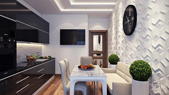 Белые 3D-обои с геометричным рисунком на кухне