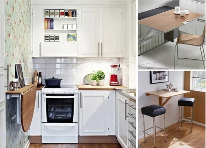 Три изображения разных кухонь с вариантами откидных столов