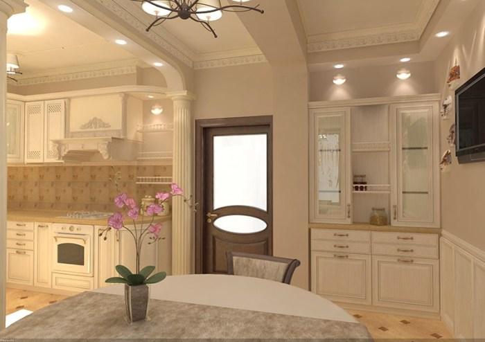 Большой буфет для посуды в просторной кухне-столовой