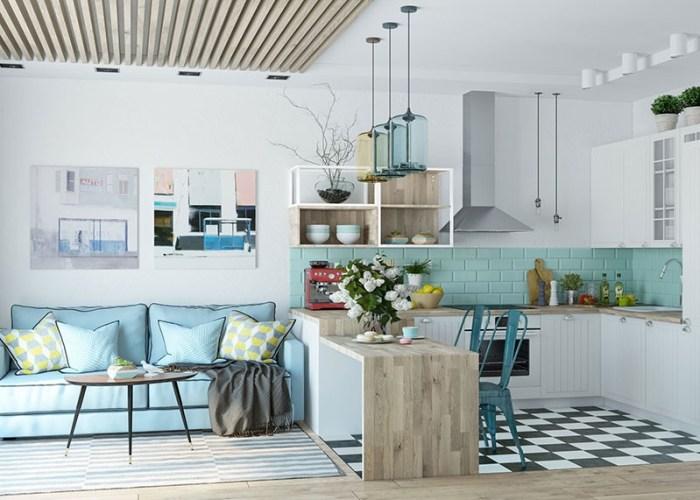 Современный скандинавский интерьер с мягким голубым диваном для отдыха