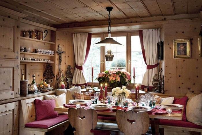 Загородный дом с кухней в стиле шале