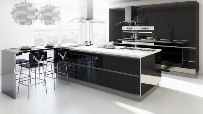 Кухня в черно-белой гамме в стиле модерн