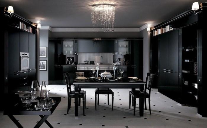 Черный цвет интерьера и декор из стекла