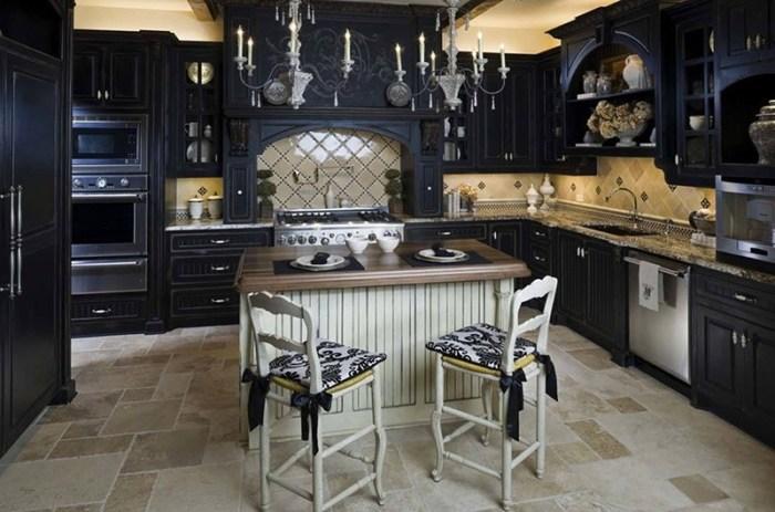Кухня в стиле прованс темного цвета