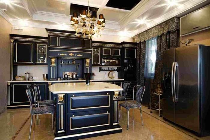 Помпезный интерьер в стиле арт-деко в черно-золотом исполнении