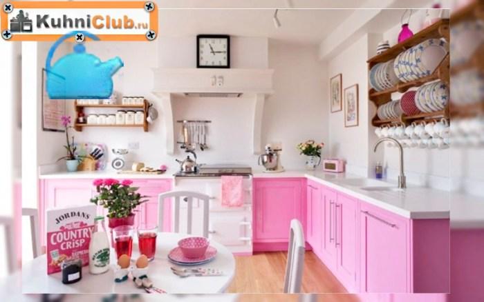 Розовая-кухня-в-стиле-кантри