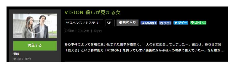 「VISION 殺しが見える女」のドラマ動画(1話~12話<最終回>)