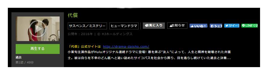 「代償」のドラマ動画(1話~6話<最終回>)