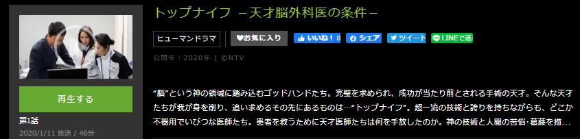 「トップナイフ―天才脳外科医の条件―」のドラマ動画(1話~10話<最終回>)