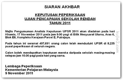 Tarikh Keputusan UPSR 17hb November 2011