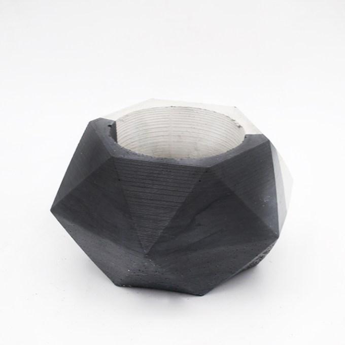 Planter pot Lissabon Rua do Carmo, bicolor black and white. Hexagone shape handmade in Berlin by Kula.
