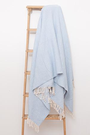 Light blue and white color plaid herringbone pattern, 100% cotton.