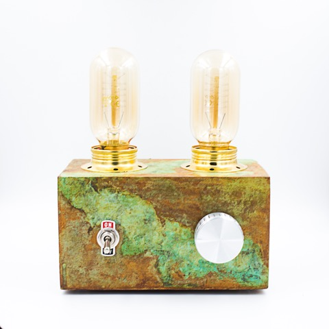 Retro Lamp, handmade in Berlin with concret, oxidation is making the color unique.