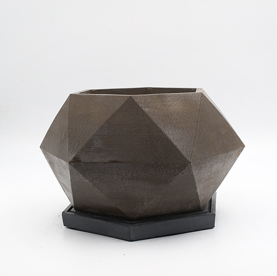 Concrete Planter pot London Baker Street, brown color, octogonal shape, handmade in Berlin.