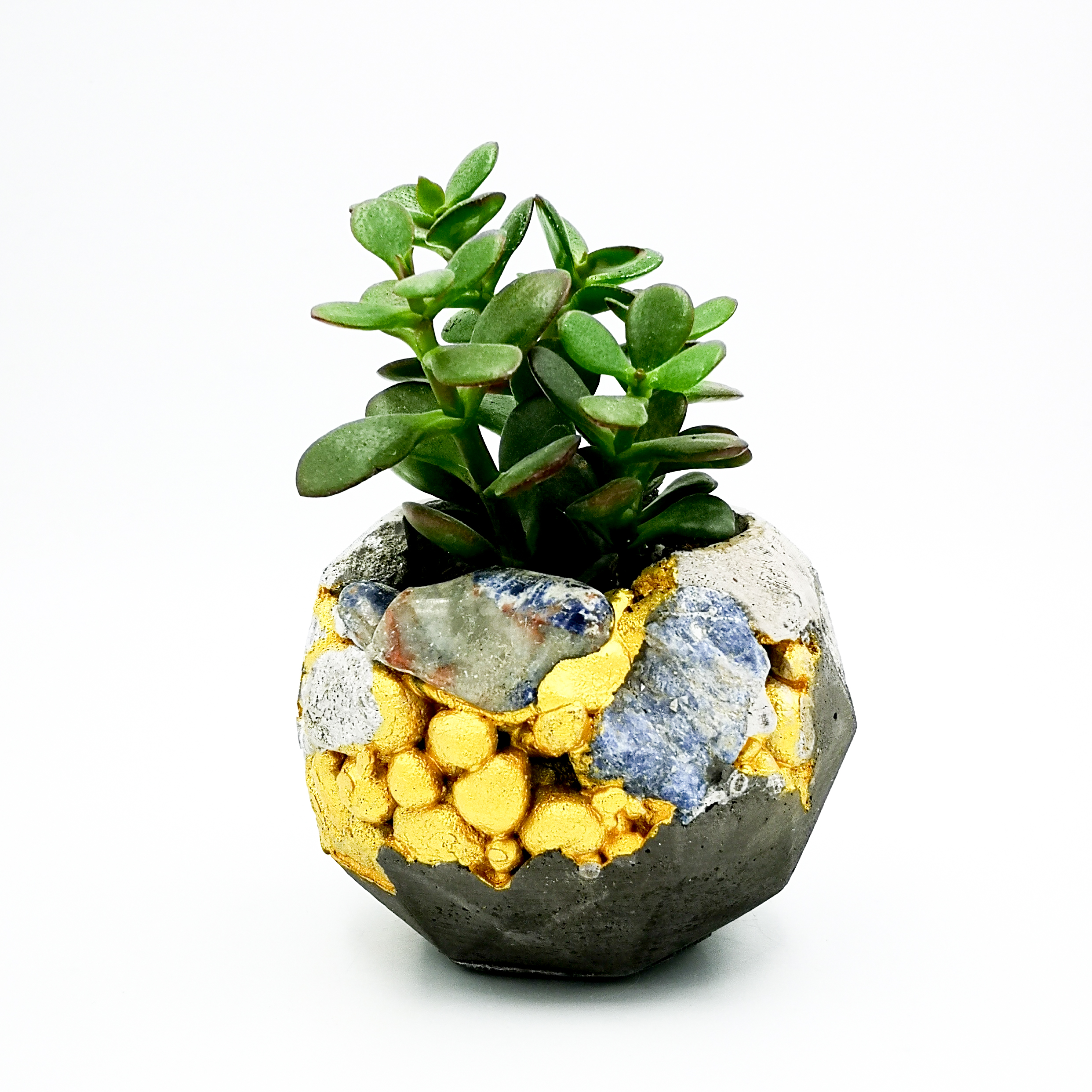 Planter Pot Roma Via Madrione kintsugi, grey and black color with mineral stones and gold structure, octogonal shape handmade in Berlin by Kula.