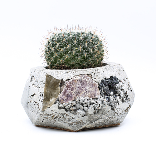 Planter Pot Amsterdam Anjeliersgracht, grey color with mineral stones, handmade in Berlin by Kula.