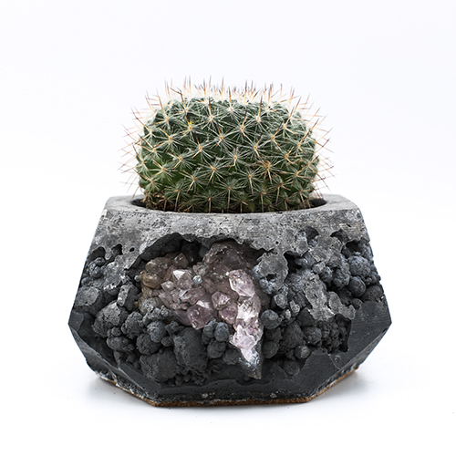 Planter Pot Amsterdam Jodenbreestraat, grey and black color with mineral stones. Octogonal shape handmade in Berlin by Kula.