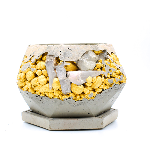 Concrete Planter pot kintsugi grey with gold structure and mineral stones, octogonal shape, handmade in Berlin.