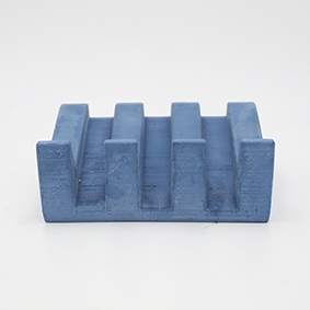 Soapdish MARSEILLE Rue des Chantecler blue grey color, rectangle base and drain for water handmade in Berlin with porcelain clay.